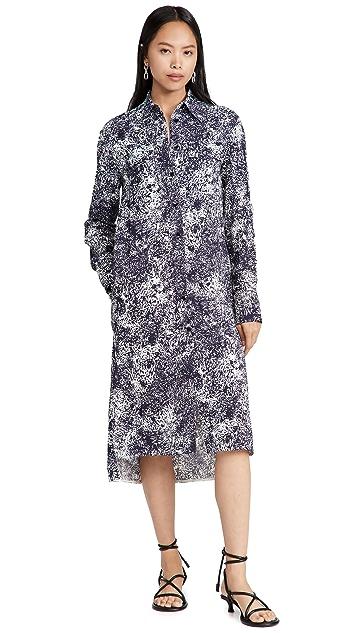 Proenza Schouler Etched Crepe Shirt Dress