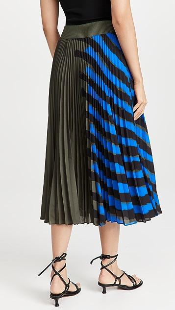 Proenza Schouler Crepe Pleated Stripe Skirt