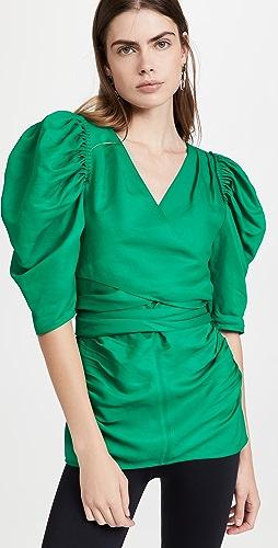 Proenza Schouler - Linen Viscose Shirred Sleeve Top