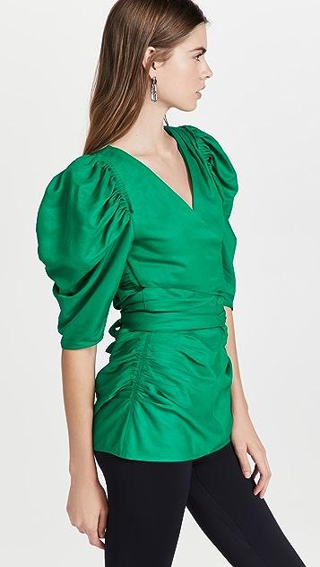 Proenza Schouler Linen Viscose Shirred Sleeve Top
