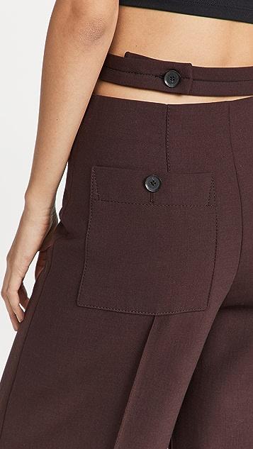 Proenza Schouler Technical Wool Slashed Waist Pants