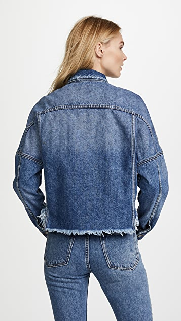 PRPS Drop Shoulder Denim Jacket with Self Fringe