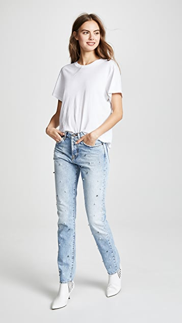 PRPS Tapered Boyfriend Jeans with Imitation Pearls
