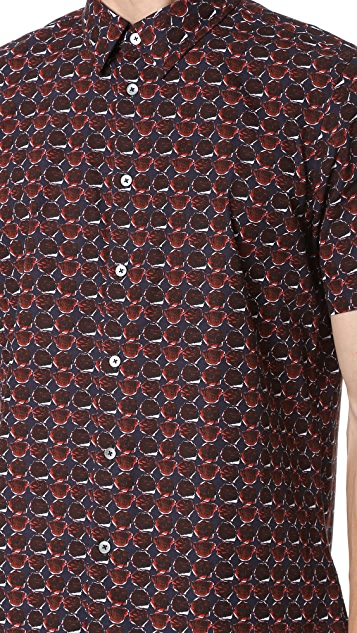 PS by Paul Smith Rose Print Short Sleeve Shirt