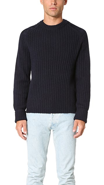 PS by Paul Smith Crew Neck Suede Patch Sweater