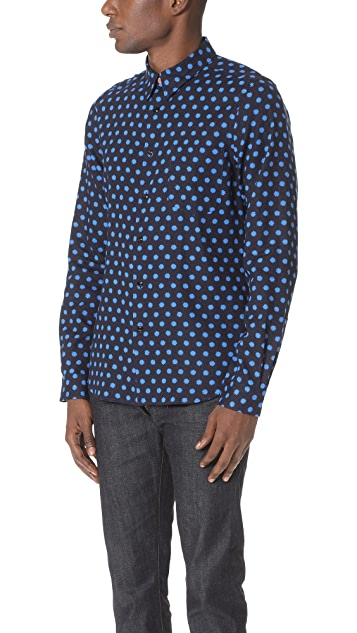 PS Paul Smith Tailored Fit Shirt with Blue Stars