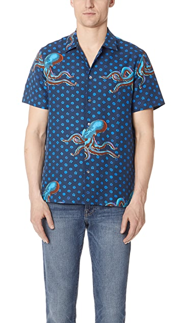 PS by Paul Smith Octopus Short Sleeve Casual Fit Shirt