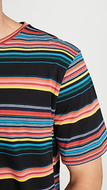 PS Paul Smith Short Sleeve Bold Multi Stripe Tee Shirt