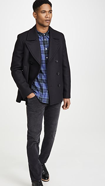 PS Paul Smith Long Sleeve Navy Plaid Shirt