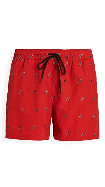 PS Paul Smith All Over Lightning Bolt Swim Shorts