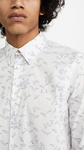 PS Paul Smith Long Sleeve Paper Airplane Button Down Shirt