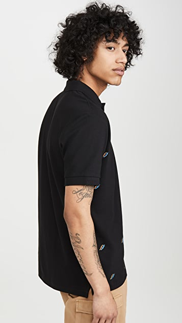 PS Paul Smith All Over Embroidered Lightning Bolt Polo
