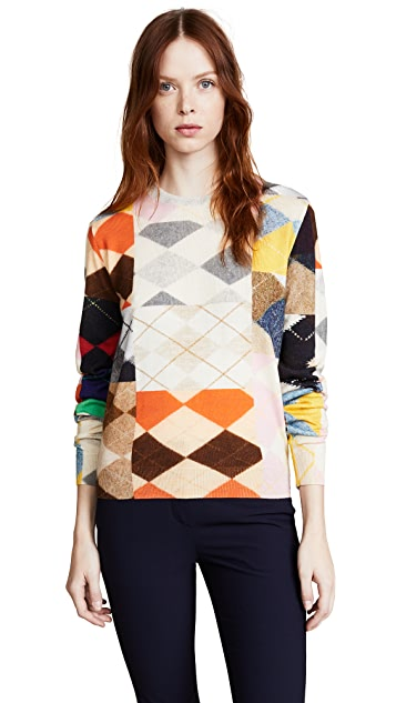 Pringle of Scotland Long Sleeve Argyle Sweater