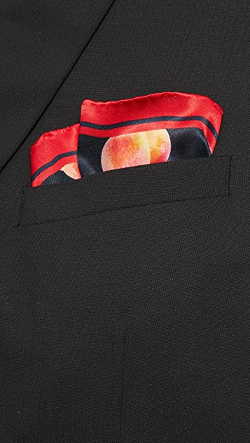Paul Smith Peach Print Pocket Square