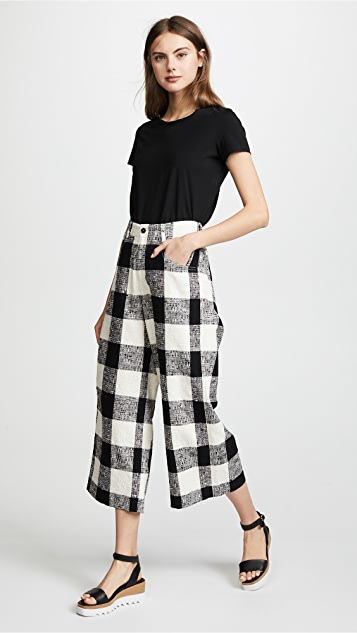 Paul Smith Wide Leg Cropped Check Trousers