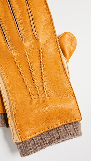 Paul Smith Deerskin Gloves with Knit Cuffs