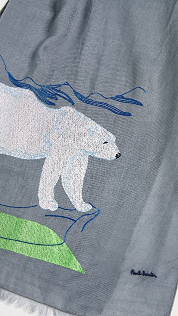 Paul Smith Arctic Animals Embroidered Scarf