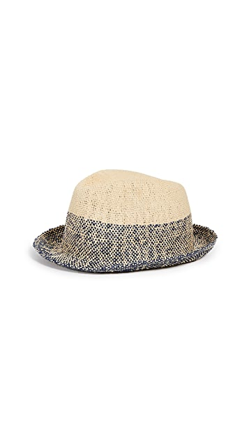 Paul Smith Two Tone Straw Trilby Hat
