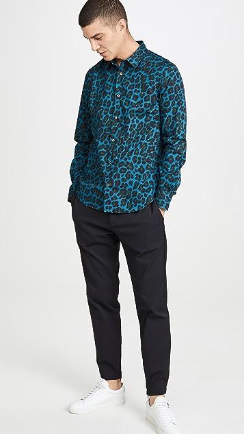 Paul Smith Long Sleeve Leopard Print Slim Fit Shirt