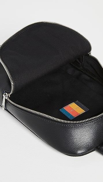 Paul Smith Men's Black Embossed Leather Sling Bag