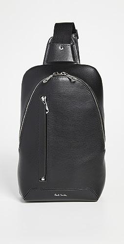Paul Smith - Men's Black Embossed Leather Sling Bag