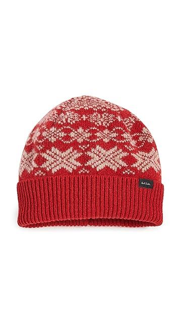 Paul Smith Men's Red Lambswool Fairisle Hat