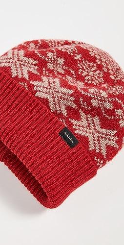 Paul Smith - Men's Red Lambswool Fairisle Hat