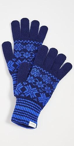 Paul Smith - Men's Blue Fair Isle Lambswool Gloves