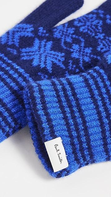 Paul Smith Men's Blue Fair Isle Lambswool Gloves