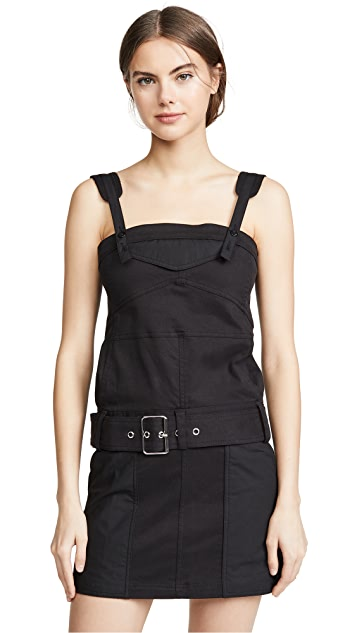 Proenza Schouler PSWL Sleeveless Belted Utility Cotton Twill Dress