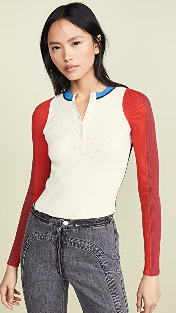 Proenza Schouler PSWL Long Sleeve Knit Top with Buttons