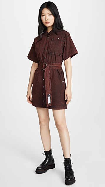 Proenza Schouler White Label Short Sleeve Belted Dress