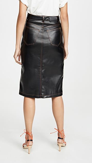 Proenza Schouler White Label Faux Leather Button Front Midi Skirt