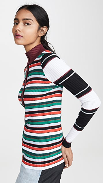 Proenza Schouler White Label Rugby Striped Turtleneck Sweater