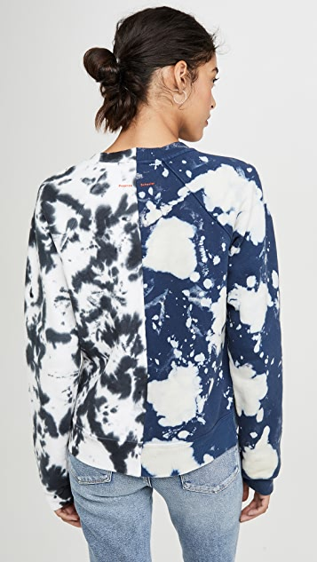 Proenza Schouler White Label Long Sleeve Cropped Tie Dye Sweatshirt