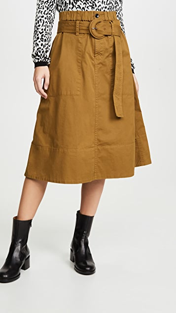 Proenza Schouler White Label Cotton Belted Skirt