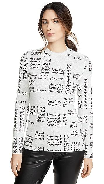 Proenza Schouler White Label 文字提花织物圆领套头衫