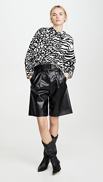Proenza Schouler White Label Animal Jacquard Cropped Pullover