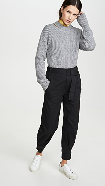Proenza Schouler White Label Cotton Belted Pants