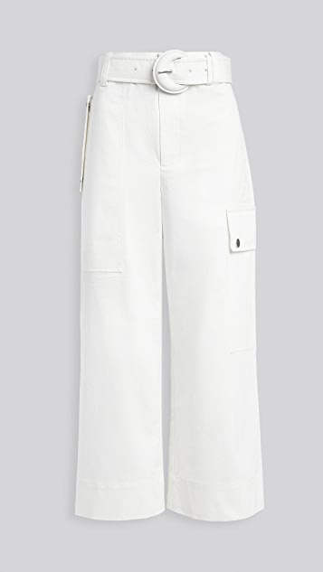 Proenza Schouler White Label Cotton Belted Cargo Pants