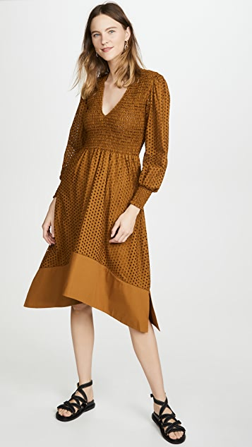 Proenza Schouler White Label Long Sleeve Smocked Top Dress