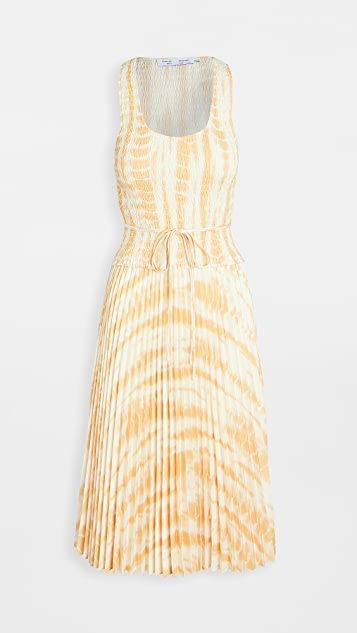 Proenza Schouler White Label Printed Smocked Top Dress with Pleated Skirt