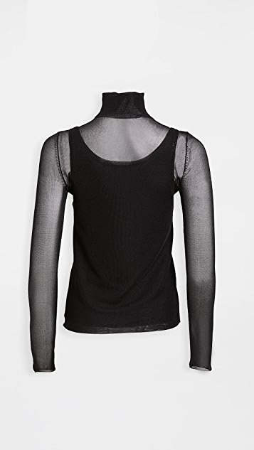 Proenza Schouler White Label Turtleneck Layered Knit Top