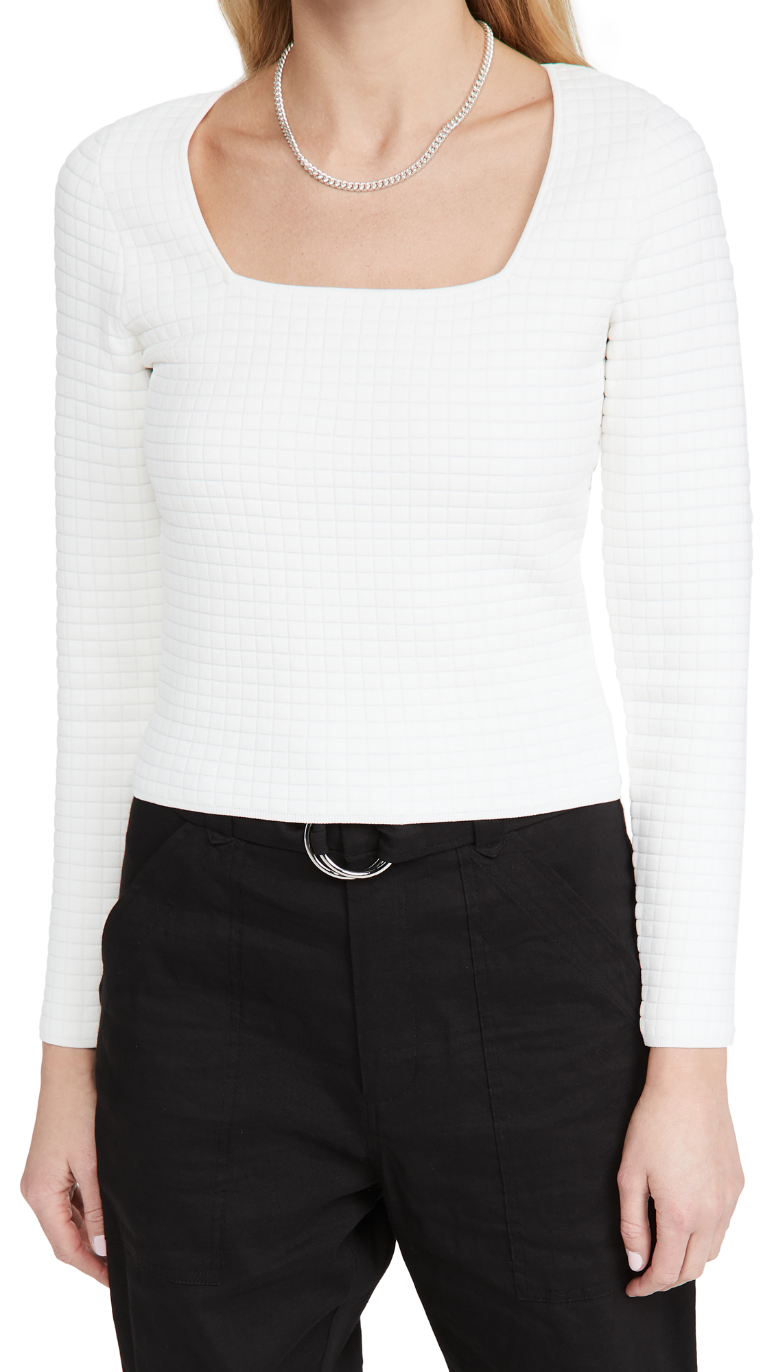 Proenza Schouler White Label Quilted Square Neck Long Sleeve Top