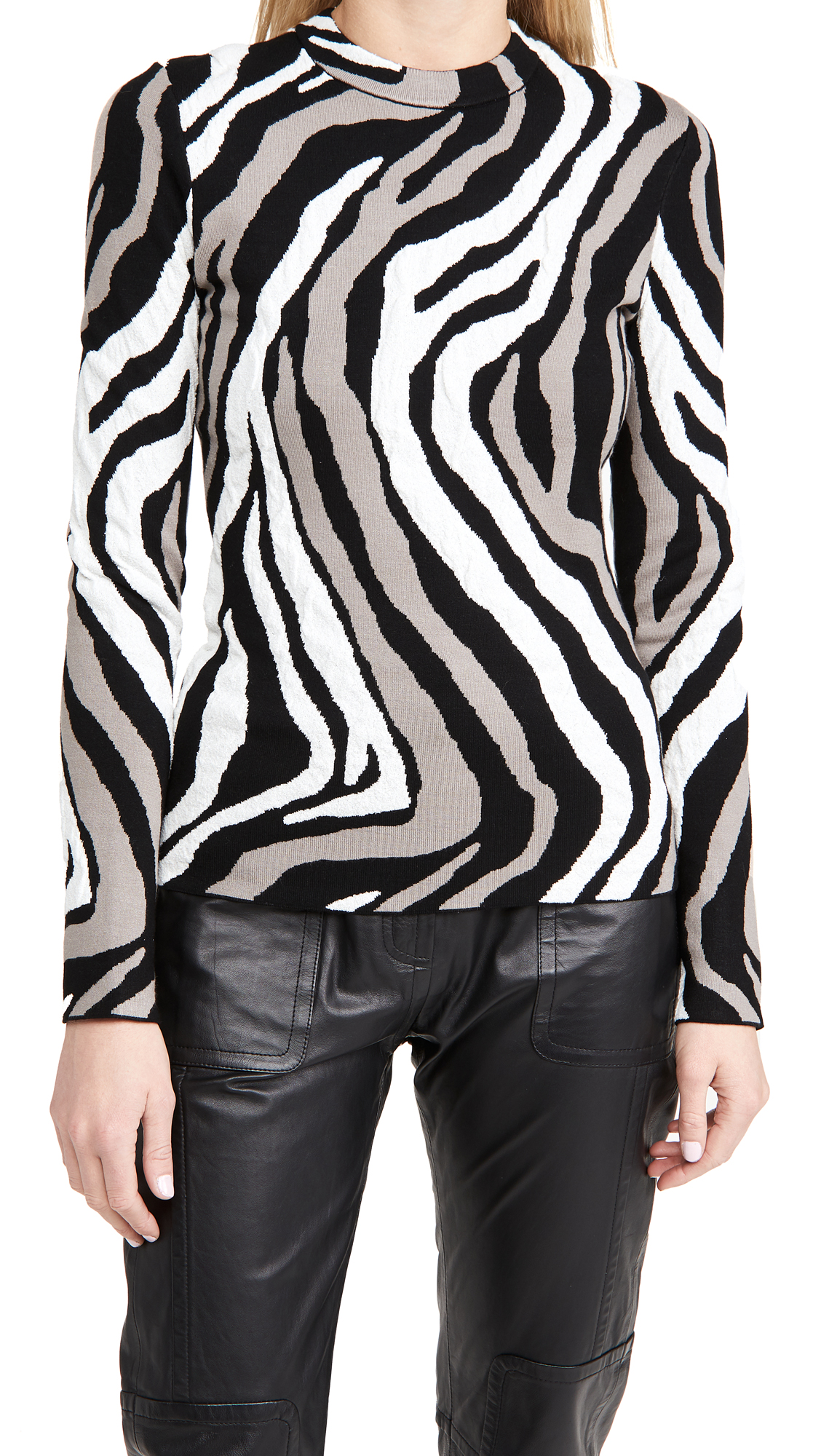 Proenza Schouler White Label Zebra Long Sleeve Top
