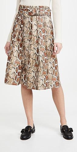 Proenza Schouler White Label - 人造弹力蛇皮系腰带中长半身裙