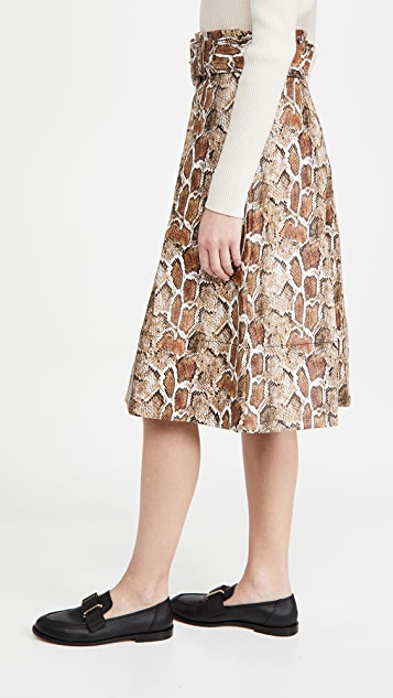 Proenza Schouler White Label Faux Stretch Snakeskin Belted Midi Skirt