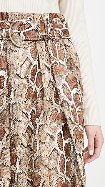 Proenza Schouler White Label 人造弹力蛇皮系腰带中长半身裙