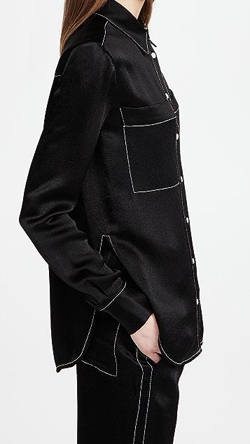 Proenza Schouler White Label Dobby Crepe Double Pocket Shirt