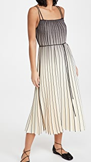 Proenza Schouler White Label Ombre Plaid Pleated Dress